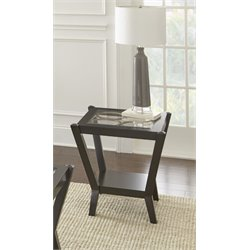 Steve Silver Doreen Square Glass Top End Table in Ebony