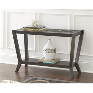 Steve Silver Doreen Glass Top Console Table in Ebony