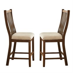 Steve Silver Kayan Counter Stool in Rich Oak (Set of 2)