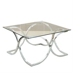 Steve Silver Leonardo Square Glass Top Coffee Table in Chrome