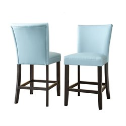 Steve Silver Matinee Bonded Leather Counter Stool in Aqua (Set of 2)