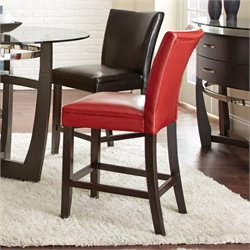 Steve Silver Matinee Bonded Leather Counter Stool in Red (Set of 2)