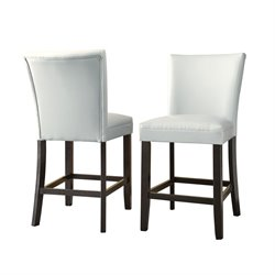 Steve Silver Matinee Bonded Leather Counter Stool in White (Set of 2)