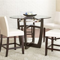 Steve Silver Matinee Round Glass Top Counter Dining Table in Ebony