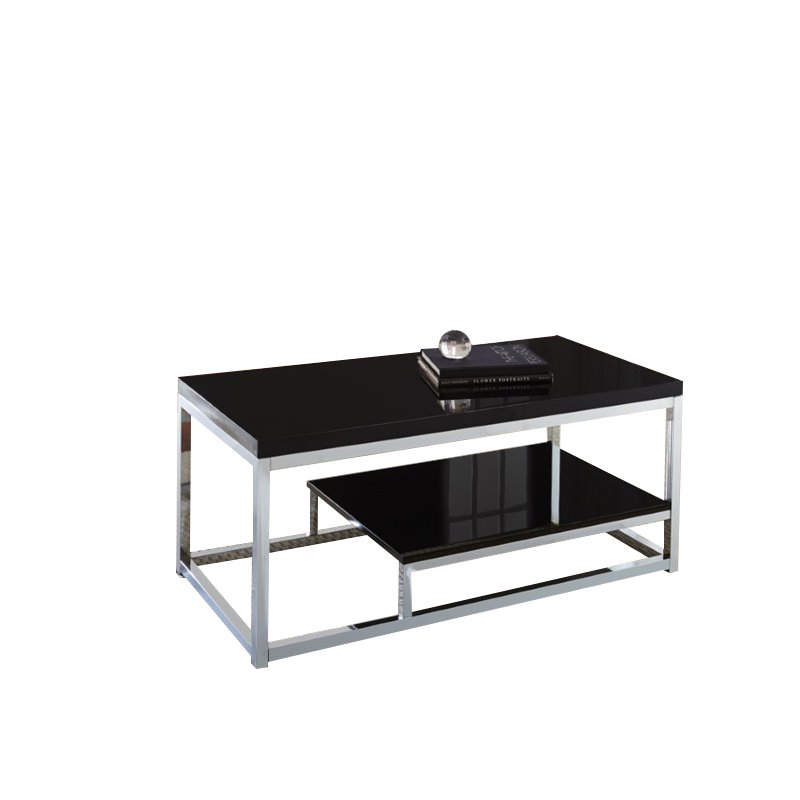 Steve silver madelyn coffee table in chrome and black my300c cb Black and chrome coffee table