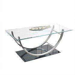 Steve Silver Natalie Glass Top Coffee Table in Chrome
