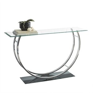 Steve Silver Natalie Glass Top Console Table in Chrome