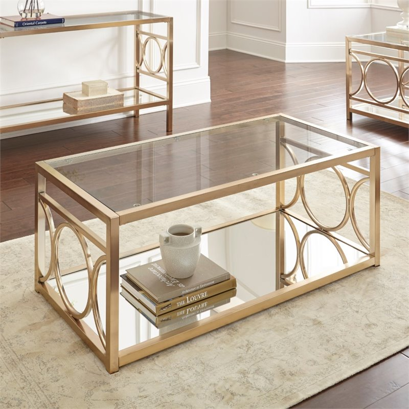 Attrayant Steve Silver Olympia Glass Top Coffee Table In Gold Chrome