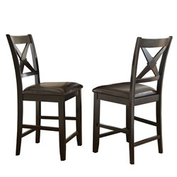 Steve Silver Violante Faux Leather Counter Stool in Black (Set of 2)