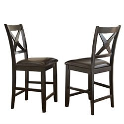 Steve Silver Violante Faux Leather Counter Stool in Black