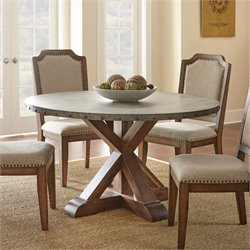 Steve Silver Wayland Round Dining Table in Driftwood