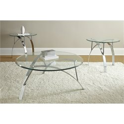 Steve Silver Xavier 3 Piece Coffee Table Set in Chrome