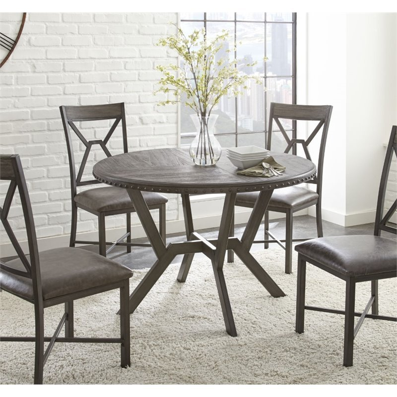 Round Kitchen Tables: Steve Silver Alamo Round Dining Table In Distressed Gray