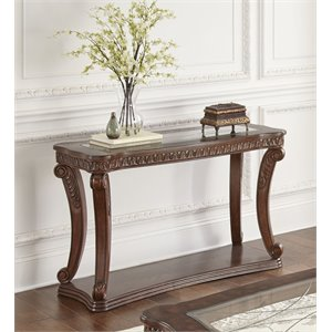 Steve Silver Innsbruck Glass Top Console Table in Warm Brown