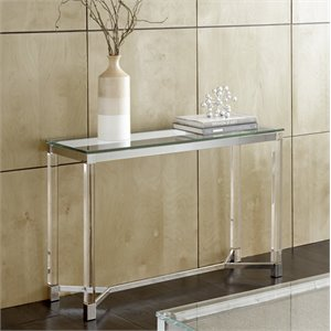 Steve Silver Talia Glass Top Acrylic Console Table in Chrome
