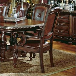 Steve Silver Company Antoinette LeatherArm Dining Chair in Cherry