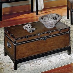 Steve Silver Company Voyage Trunk Coffee Table in Antique Cherry/Brown