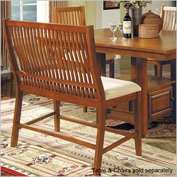 Steve Silver Company Tulsa Fabric Counter Height Bench in Red Oak Finish