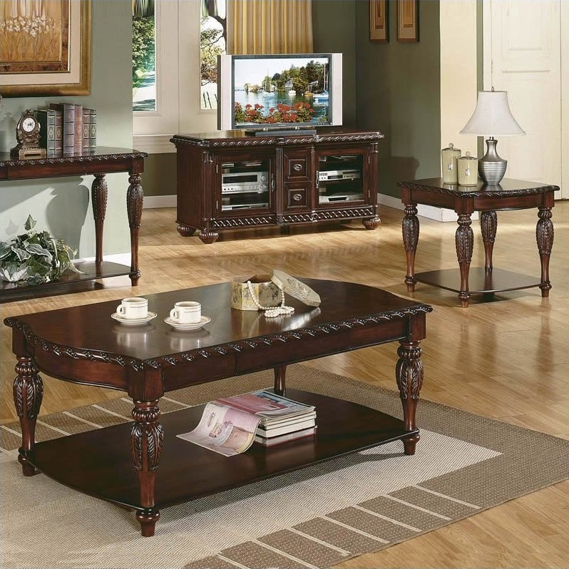 Steve Silver Company Antoinette 3 Piece Coffee Table Set In Mahogany Cherry Ay150c Pkg