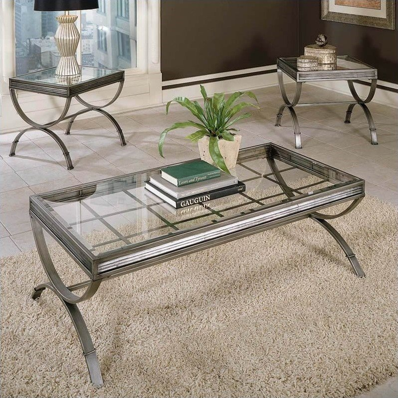 Company Emerson 3 Piece Coffee And End Table Set In Silver EM1000