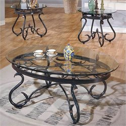 Steve Silver Company Lola 3 Piece Coffee Table Set in Dark Brown