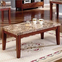 Steve Silver Company Montibello Brown Rectangular Coffee Table with Marble Top