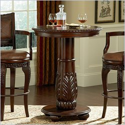 Steve Silver Company Antoinette Wood Top Round Pub Table in Cherry