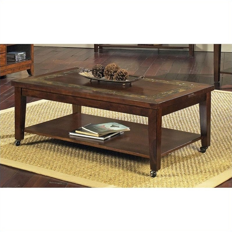 Davenport Slate Cocktail Table with Locking Casters