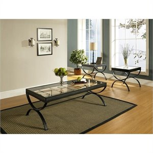 Steve Silver Company Emerson 3 Piece Coffee Table Set in Black