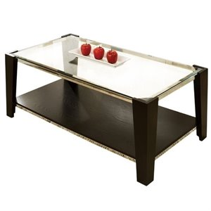Steve Silver Company Newman Glass Top/Espresso Base Cocktail Table