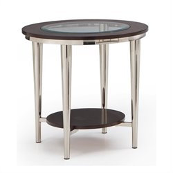 Steve Silver Company Norton 23 Inch Round Glass Top End Table