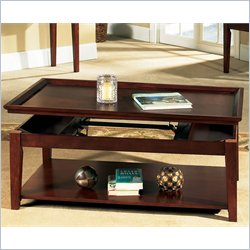 Steve Silver Company Clemens Lift Top Cocktail Table with Casters in Cherry