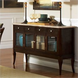 Steve Silver Company Marseille Marble Top Sideboard in Dark Cherry