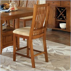 Steve Silver Company Tulsa Cream Fabric Counter Height Dining Side Chair in Cherry
