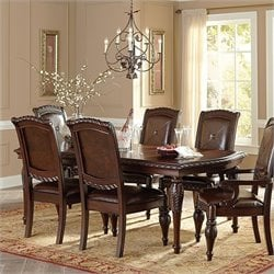 Steve Silver Company Antoinette Leg Dining Table with Leaf in Cherry