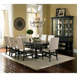 Steve Silver Company Leona Dining Table with Leaf in Dark Hand Rubbed