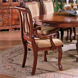 Steve Silver Company Harmony Harpback Dining Arm Chair in Rich Cherry