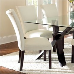Steve Silver Company Berkley Bonded Leather Parsons Dining Chair in White
