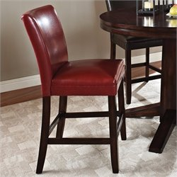 Steve Silver Company Hartford Bonded Red Leather Counter Height Dining Chair in Dark Cherry
