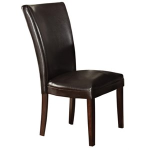 Steve Silver Hartford Leather Dining Chair in Dark Cherry