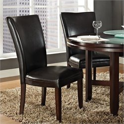 Steve Silver Company Hartford Bonded Brown Leather Dining Chair in Dark Cherry