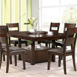 Steve Silver Company Gibson 2 in 1 Regular and Counter Height Dining Table with Leaf in Espresso