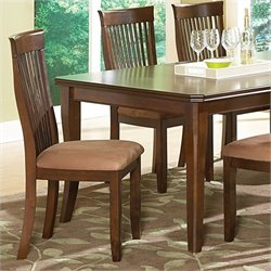 Steve Silver Company Montreal Brown Microfiber Upholstery Dining Side Chair in Dark Oak