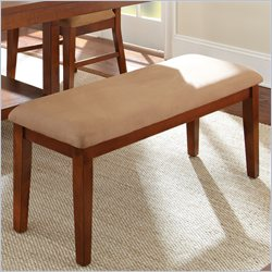 Steve Silver Company Eden Modern Brown Microfiber Upholstery Bench in Light Cherry