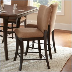 Steve Silver Company Derrick Upholstered Brown Poly-Cotton Counter Height Chair in Dark Oak