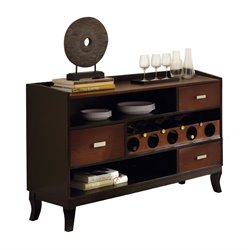 Steve Silver Oakton Wine Rack Server in Medium Cherry and Black