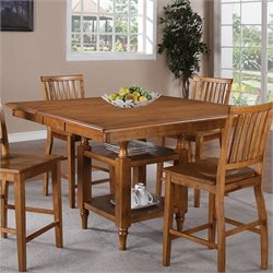 Steve Silver Company Candice Counter Height Dining Table with Butterfly Leaf in Oak