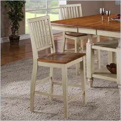 Steve Silver Company Candice Counter Height Dining Chair in Oak and  Off-White
