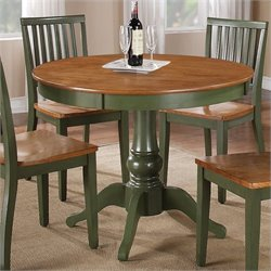 Steve Silver Company Candice Round Dining Table in Oak and Green