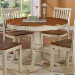 Steve Silver Company Candice Round Dining Table in Oak and Off-White